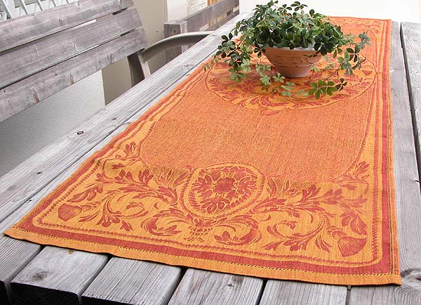 Linen Table Runner Tapestry Red Gold Giftwrapping Free Of Charge
