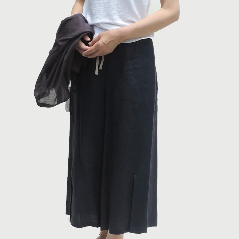 リネン クレット パンツ ワイド パンツ 麻 ネイビーおしゃれ ロング ゆったり 履きやすい 暖かい 秋 冬