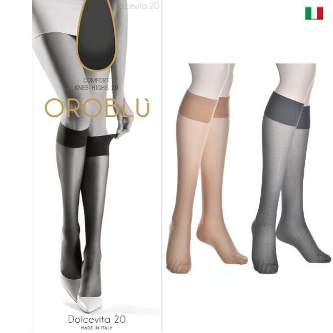 5157dd2b7 (オロブル) Dolcevita 20   VOBC01054 COMFORT KNEE - HIGHS import tights 20 denier  short stockings tiptoe reinforcement comfort knee length tights short ...