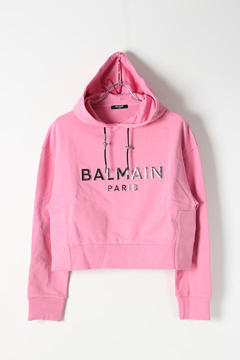 BALMAIN バルマン BF2 C&S HOODIE SHORT LOGO{0103792I419-OAT-BJS}