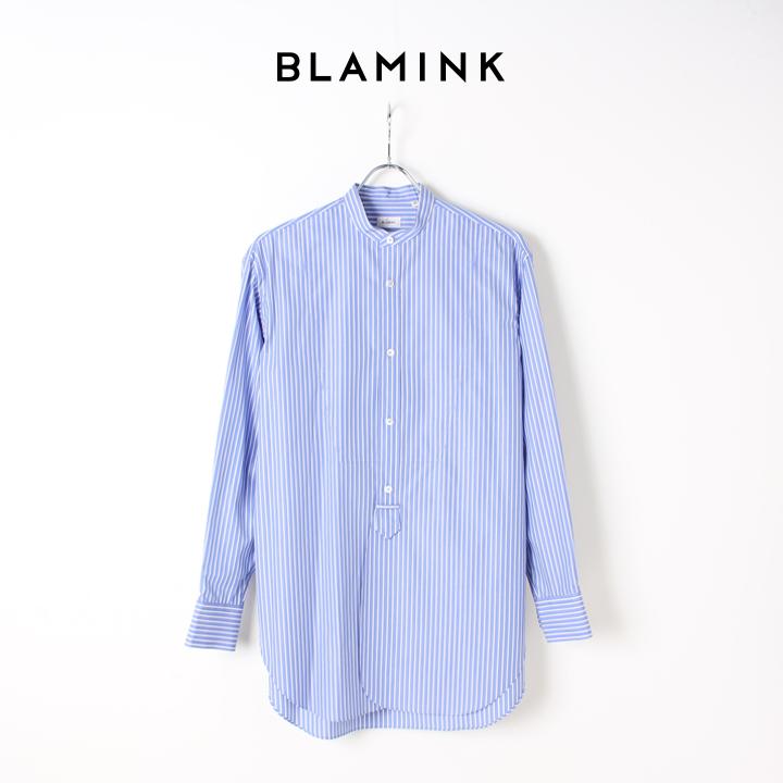 BLAMINK ブラミンク ストライプバンドカラーシャツ{7911-230-0092-BLU-BJS}