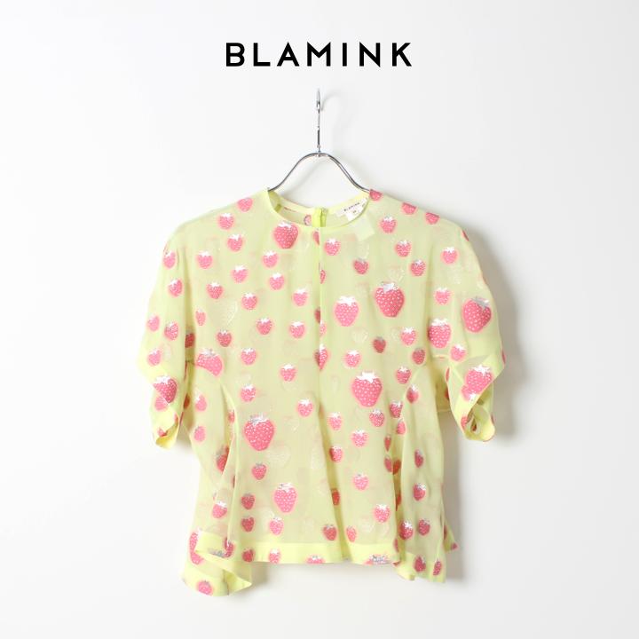 BLAMINK ブラミンク シルクポリエステル ストロベリークルーネックブラウス 79212990066PNK{7921-299-0066-PNK-AIS}