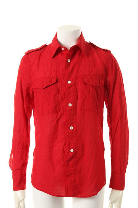 1piu1uguale3 ウノピュウノウグァーレトレ GIZA COTTON GAUZE ARMY SUMMER SHIRT shirts{MRS035-COT089-45-ADA}