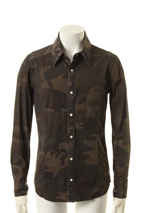 AKM エーケーエム STRETCH SATIN CAMOPRINT shirts{-AES}