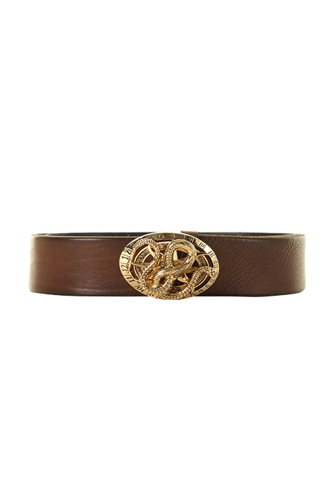 Roberto Cavalli ロベルトカヴァリ BELT WITH SNAKE BUCKLE{RC-201706-01-BRWGLD-AGS}