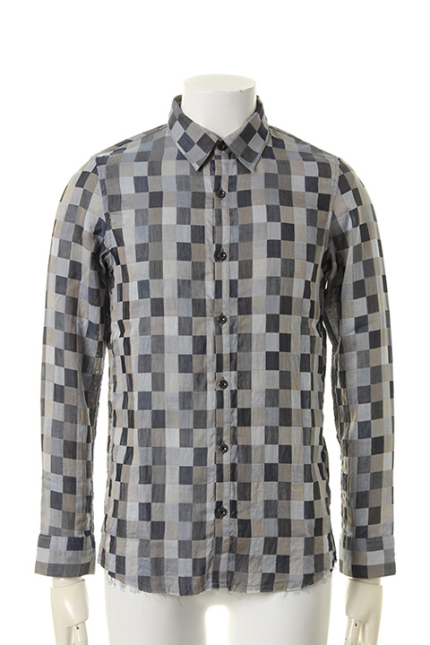 OURET オーレット 80/1 COTTON MOSAIC CHECK REGULAR COLLAR SHIRT{OR161-1352-45UB-AFS}