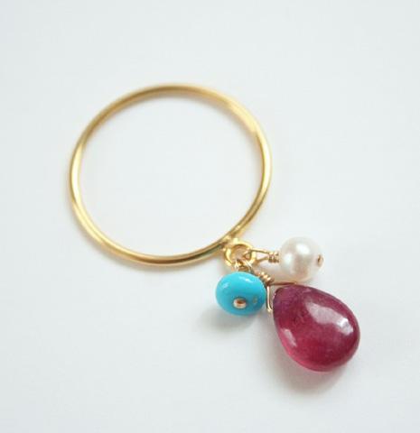 ルビー・ターコイズ・パールのリング・指輪 /14KGF/天然石アクセサリー・ゴールドフィルド