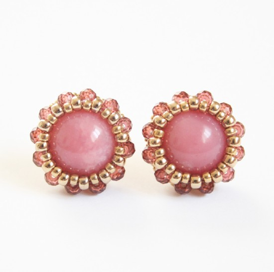 Framing Pierced Earrings Stud Bolt 14kgf Gold Fylde Handmade Jewelry Natural Stone Of The Pink Opal Garnet