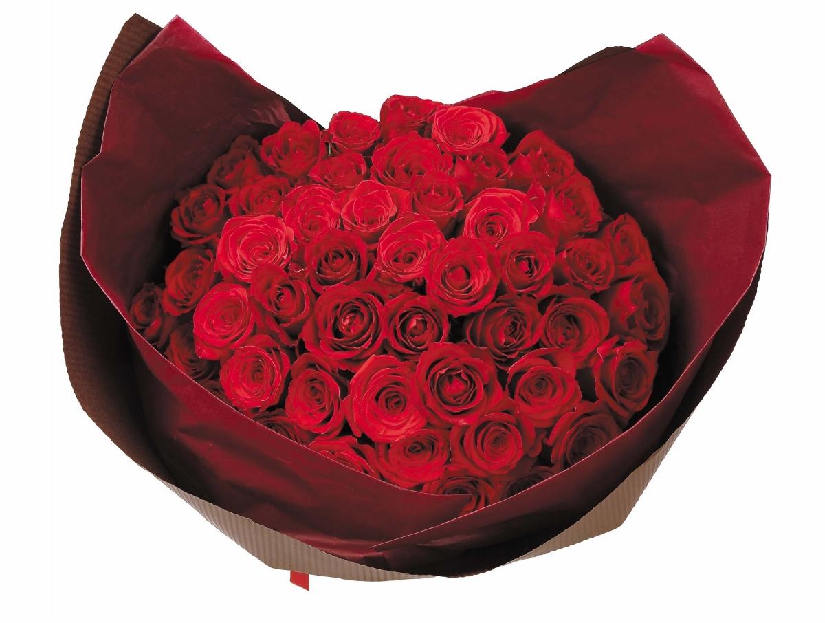 ローズ50本ブーケ赤ローズブーケ フラワー 送料無料 バラブーケ 薔薇ブーケ花 ローズブーケ 人気ローズブーケ 誕生日 薔薇ブーケ 生花 開店祝い 誕生日 記念日 還暦祝い 贈り物ギフト ギフト