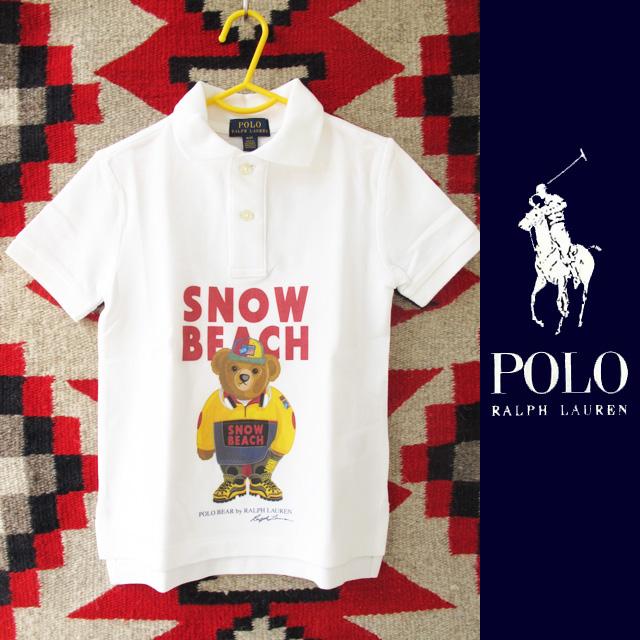 【新春セール1月15日まで!!】【キッズ】Polo Ralph Lauren(ポロラルフローレン)SNOW BEACHポロベアーポロシャツ/WHITE【新品未使用】
