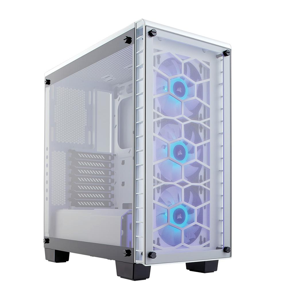 CORSAIR RGBファン標準搭載 強化ガラス採用のATXミドルタワーPCケース 460X RGB White (CC-9011129-WW) ホワイト