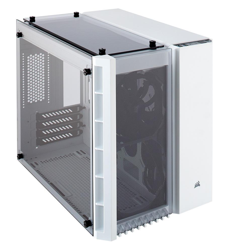CORSAIR 3枚の強化ガラスを採用したMicro-ATX対応キューブPCケース 280X Tempered Glass White (CC-9011136-WW) ホワイト