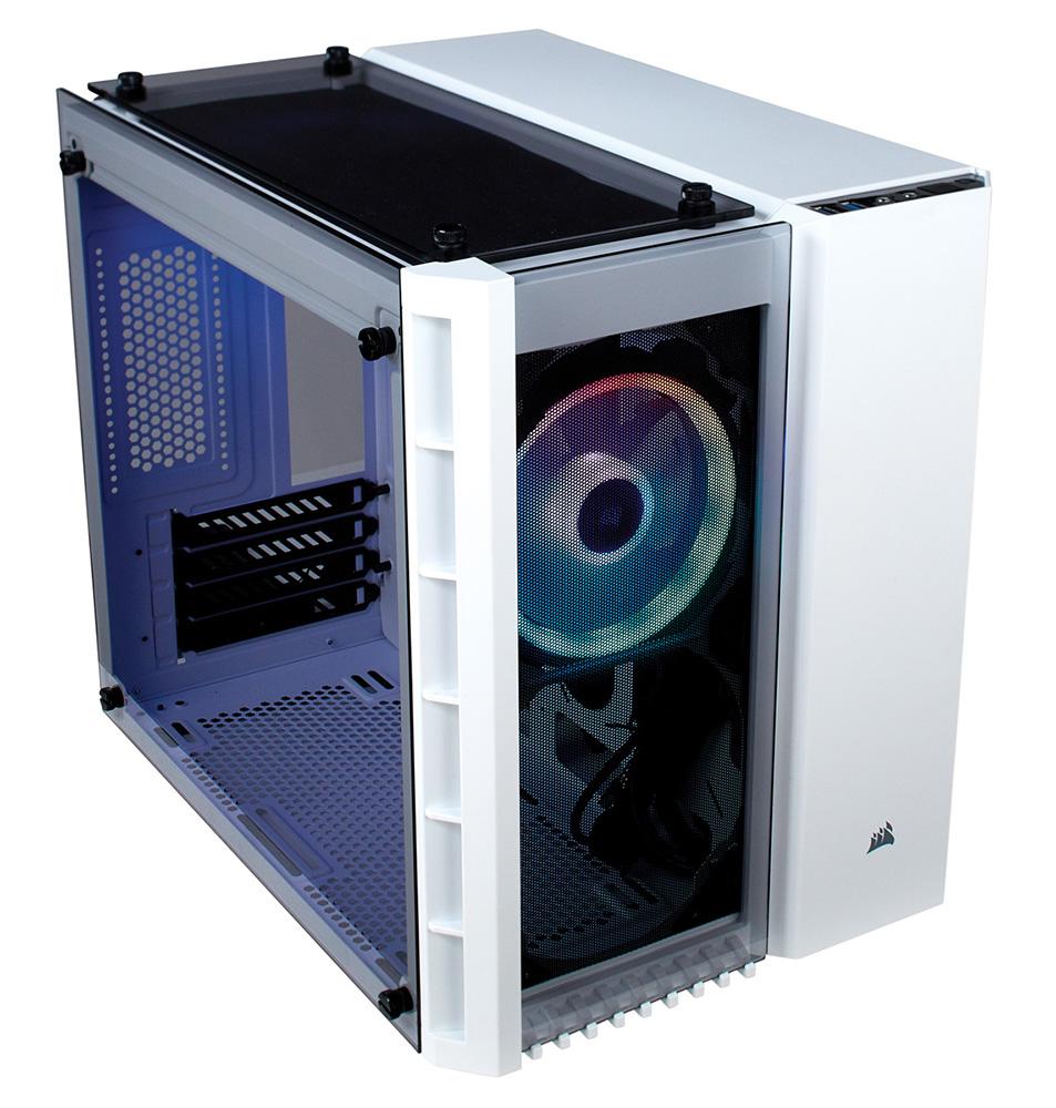 【箱破損品(新品)】CORSAIR RGBファン搭載 強化ガラス採用のMicro-ATX対応キューブPCケース 280X RGB White (CC-9011137-WW) ホワイト
