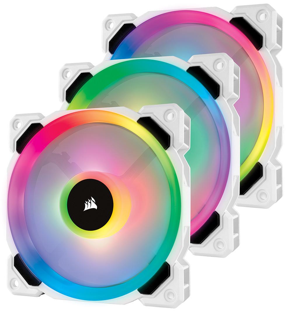 CORSAIR アドレッサブルRGB搭載 120mm RGB LEDファン LL120 RGB White Triple Fan Kit (CO-9050092-WW) 標準モデル(ファン3個とLighting Node PRO)
