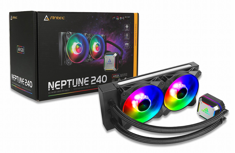 Antec マザーボードのRGB SYNCに対応 ARGB LED搭載水冷一体型ユニット Neptune 240 ARGB ラジエータサイズ240mm