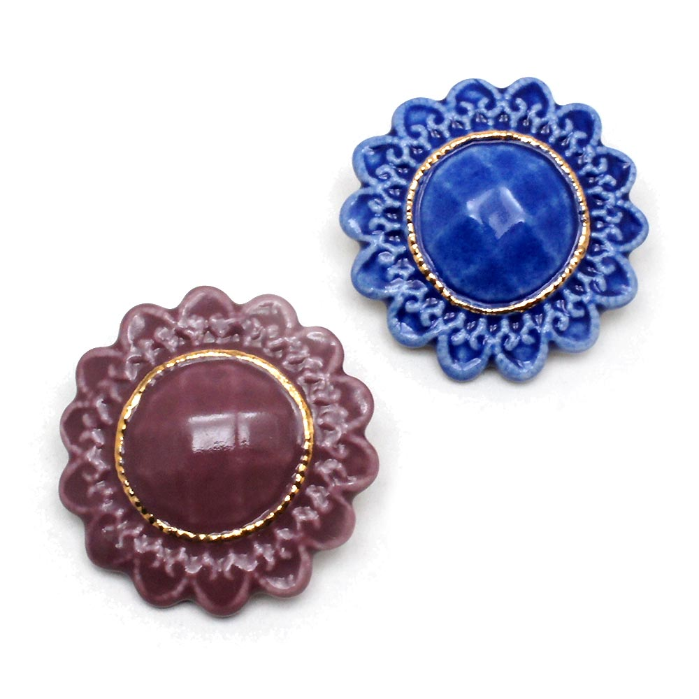 有田焼 国産品 アンティークボタン ブローチ:gargle 爆安 ガーグル