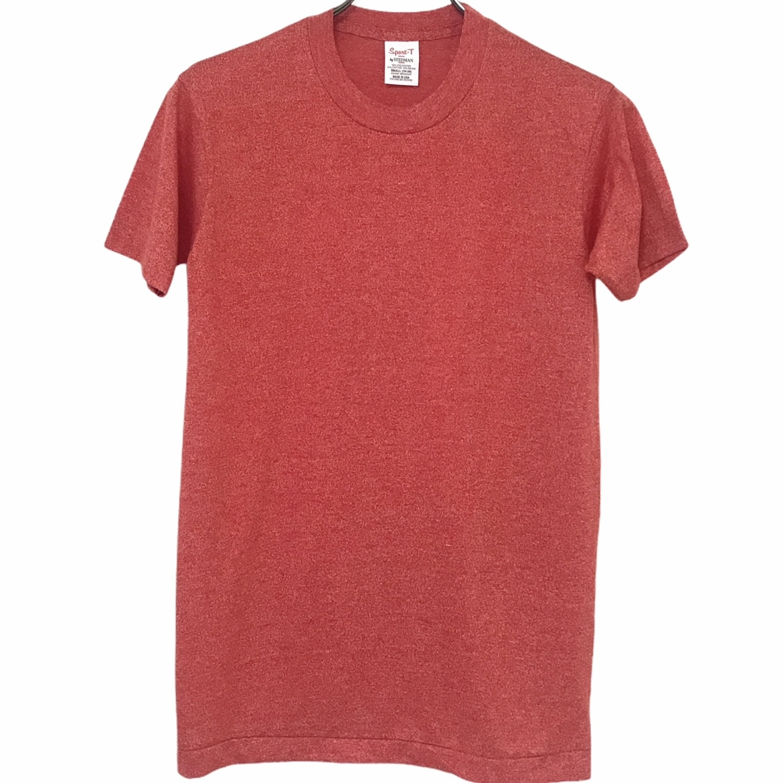 デッドストック 70's Sport-T by STEDMAN 奉呈 ステッドマン 無地T 毎週更新 杢レッド USA製 丸胴 50 ヴィンテージTシャツ