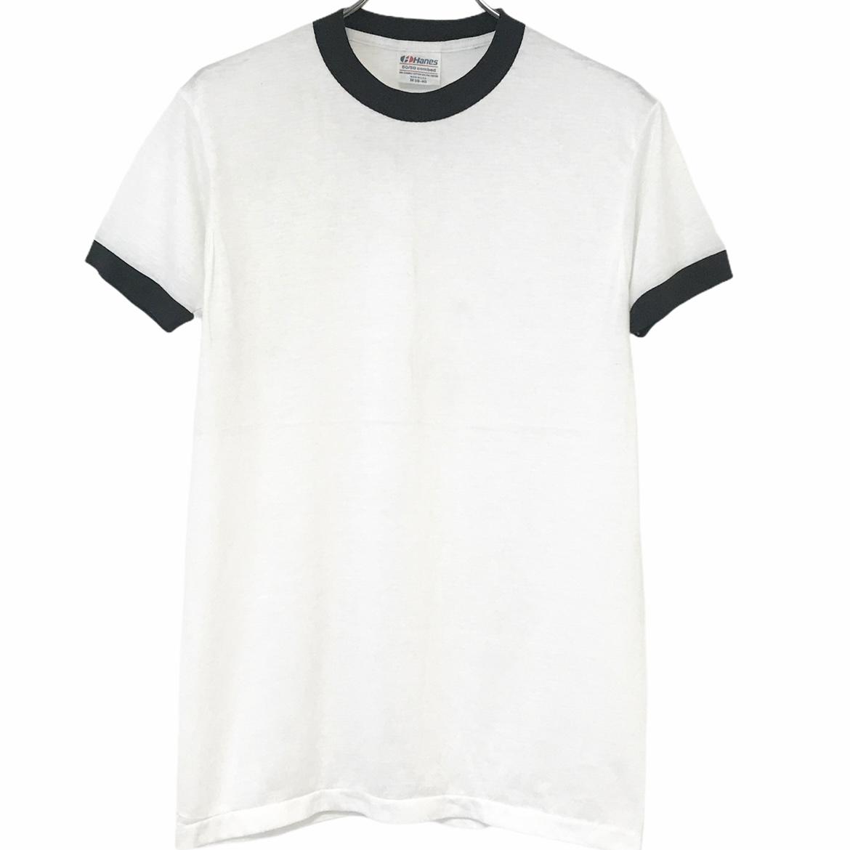 デッドストック 正規激安 80's Hanes ヘインズ 即納 50 ヴィンテージTシャツ ブラック USA製 ホワイト リンガーT