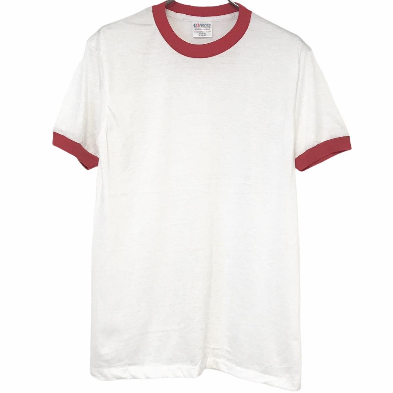 デッドストック 80's Hanes ヘインズ 50 USA製 ヴィンテージTシャツ 受賞店 リンガーT 5%OFF レッド ホワイト