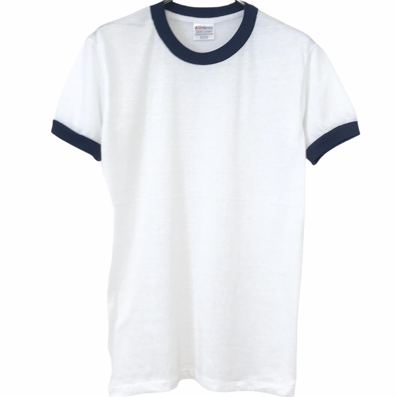 デッドストック 80's Hanes 大特価 ヘインズ 50 ネイビー 期間限定で特別価格 リンガーT ホワイト ヴィンテージTシャツ USA製