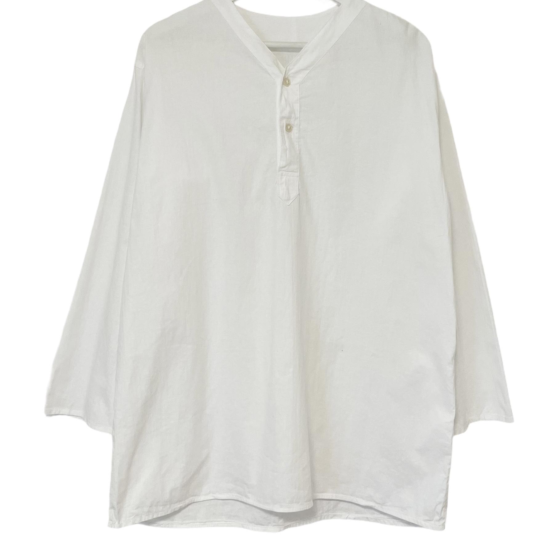 デッドストック 80's ロシア軍 大人気 旧ソ連軍 スリーピングシャツ 上質 46 ホワイト ヘンリーネック Vネック