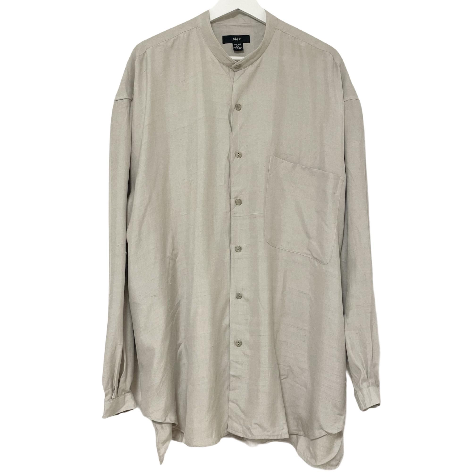 Dead Stock 90's phiz Silk Shirt Band Collar シルク カーキ バンドカラー シャツ デッドストック 2020 新作 豪華な フィズ KHAKI