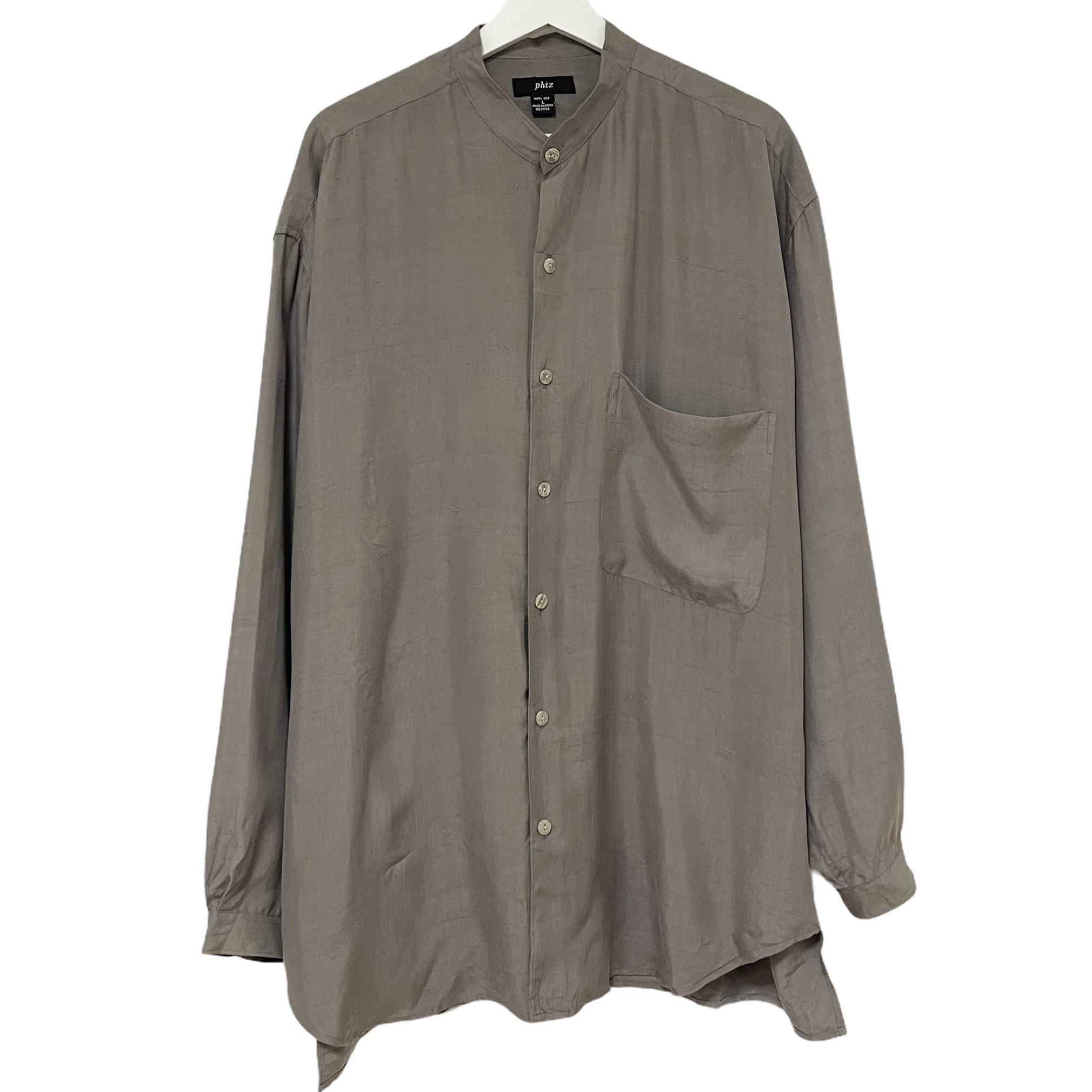 Dead Stock SEAL限定商品 90's phiz メーカー公式ショップ Silk Shirt Band Collar シャツ デッドストック シルク バンドカラー TAUPE フィズ トープ