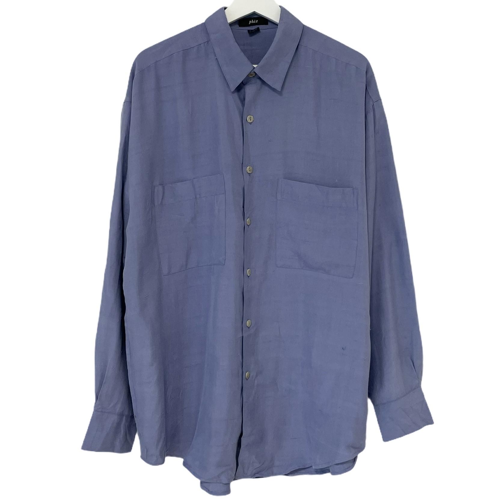 Dead Stock 90's phiz Silk Shirt フィズ GRAPE プレゼント ライトブルー 格安 デッドストック シルク シャツ