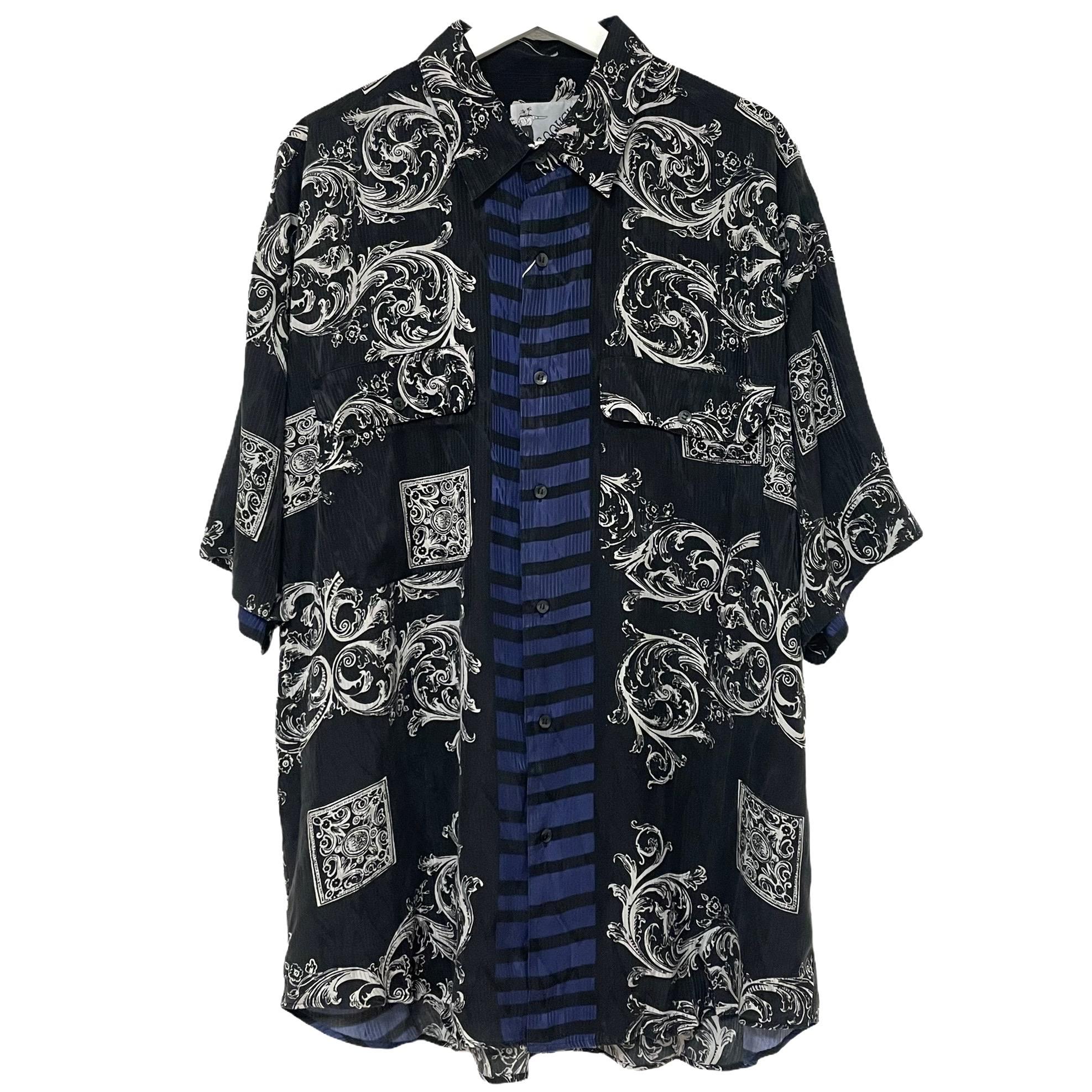 Dead Stock 90's GOOUCH Silk Shirt PLUM Short シャツ 時間指定不可 柄 注文後の変更キャンセル返品 デッドストック Sleeve 半袖 シルク グーチ