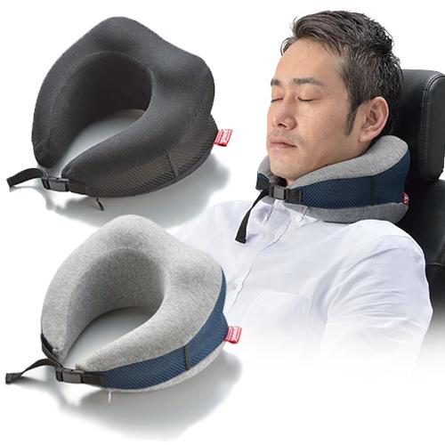 [300円OFFクーポン対象][3個セット]低反発ピロー かるラクーン [ブラック/グレー] (ネックピロー 旅行 出張 低反発 枕 携帯枕 トラベルグッズ 持ち運び 簡単 便利