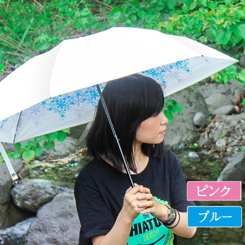 UVION プレミアムホワイト50ミニ クリスタル[カラー:ピンク/ブルー] 日本製 折り畳み傘 軽量150g 晴雨兼用 UVカット99%以上