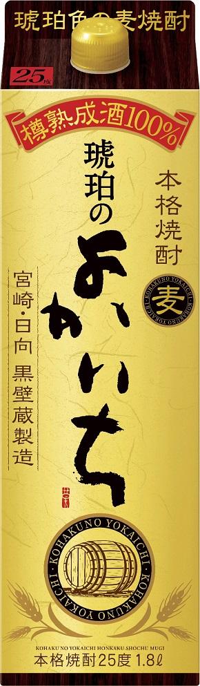 【送料無料】宝 琥珀のよかいち 麦 25度 パック 1800ml 1.8L×12本【北海道・沖縄県・東北・四国・九州地方は必ず送料が掛かります】