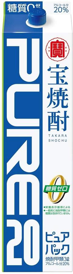 【送料無料】宝酒造 宝焼酎 ピュアパック 20度 3000ml 3×8本【北海道・東北・四国・九州・沖縄県は必ず送料がかかります】