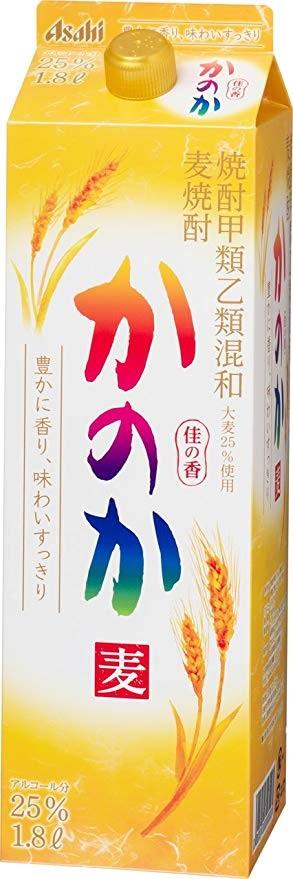 市場最安値に挑戦 アサヒ 入手困難 甲乙混和 麦焼酎 かのか 麦 25度 まで1個口配送可能 パック 全商品オープニング価格 ご注文は2ケース 1800ml 1.8L 12本 1本