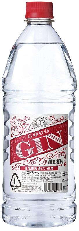 【送料無料】合同酒精 GODO ジン 37度 1.8L 1800ml×12本/1ケース【北海道・沖縄県・東北・四国・九州地方は必ず送料が掛かります】