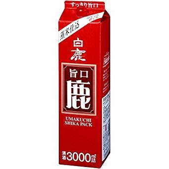 【送料無料】辰馬本家酒造 白鹿 旨口 鹿パック 3000ml 3L×8本/2ケース【北海道・沖縄県・東北・四国・九州地方は必ず送料が掛かります】