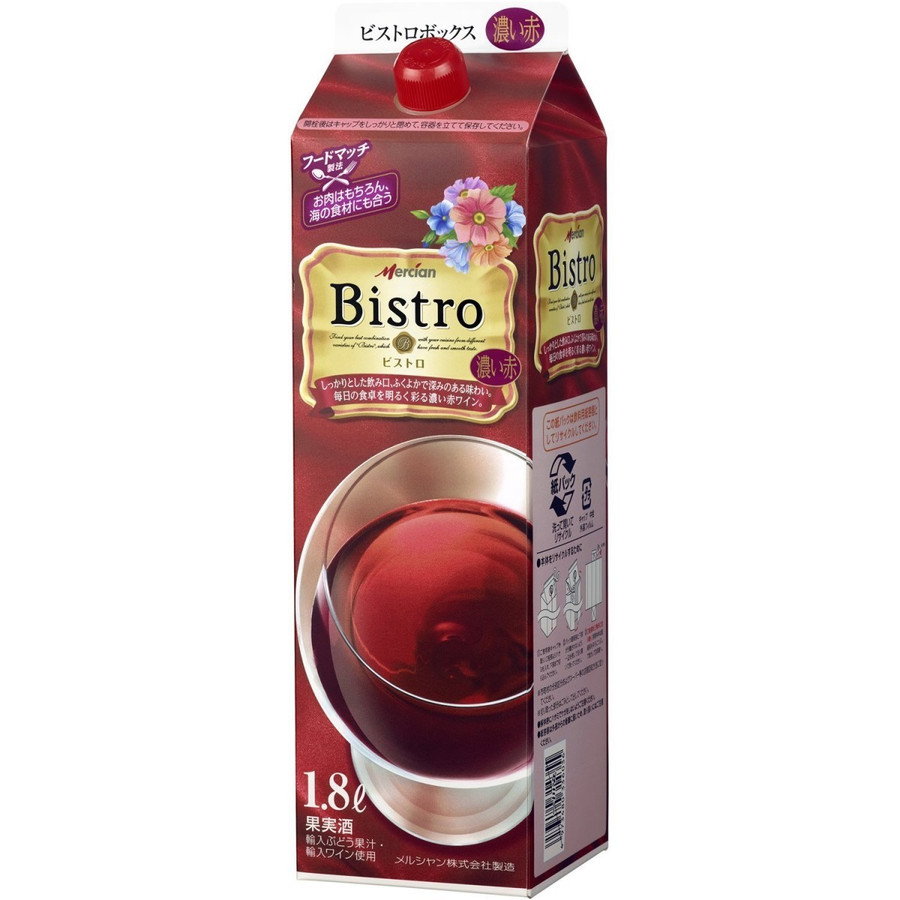 【送料無料】メルシャン ビストロ 濃い赤 パック 1800ml 1.8L×12本【北海道・沖縄県・東北・四国・九州地方は必ず送料が掛かります】