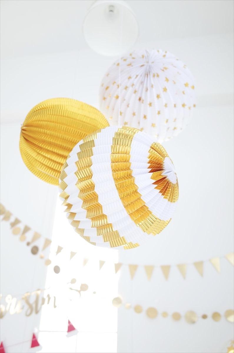 【Meri Meri】 あす楽 【パーティー 装飾 飾りつけに 誕生日 お祝い ウェディング 結婚式 デコレーション パーティーセット】 ゴールド3種 【星柄・ストライプ・ゴールド 3個入り】 アコーディオンボール リトルレモネード ◆SALE
