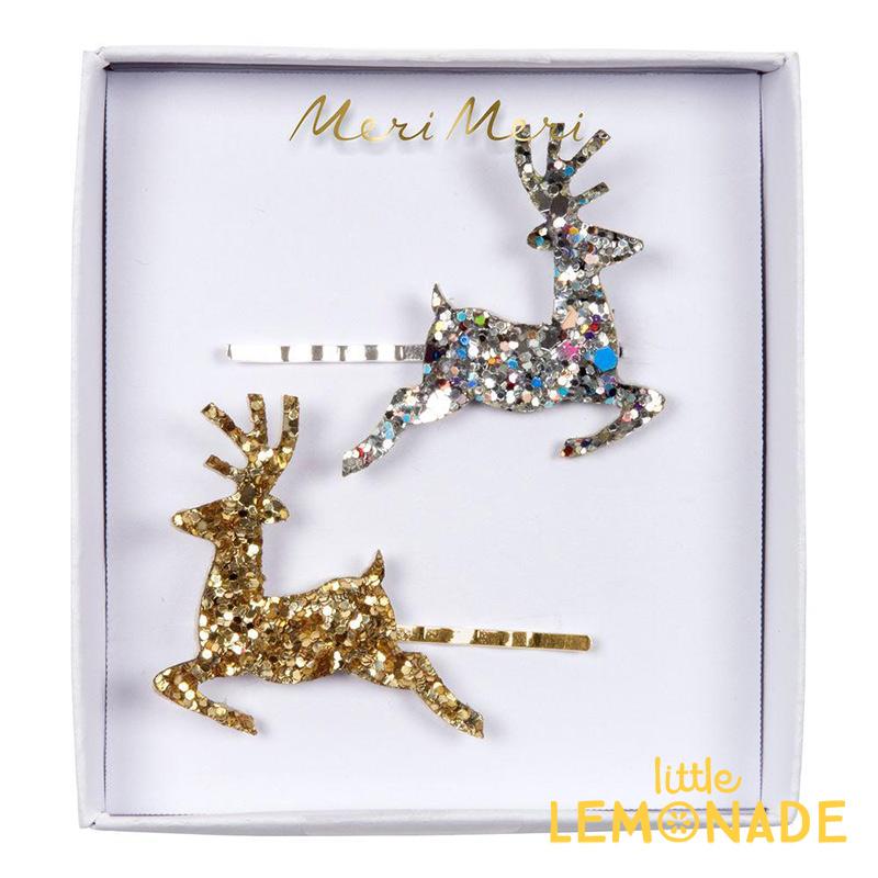 Meri チープ トナカイのグリッターヘアピン2本セット Reindeer 女の子 Christmas クリスマス Xmas アクセサリー いよいよ人気ブランド メリメリ あす楽 髪留め ヘアアクセ リトルレモネード ヘアクリップ