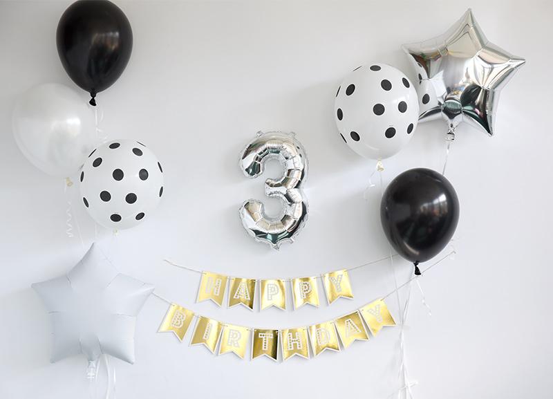 【風船】パーティーバルーン 5枚パック モノトーンドット  誕生日やお祝いの飾り付けに 白黒  monotone【パーティーデコレーション】【アメリカ製高品質 ゴム風船】【メール便可】【ハロウィン HALLOWEEN ハロウィーン】 あす楽 リトルレモネード