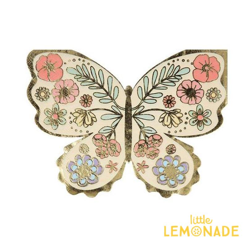 美しいバタフライ型の紙ナプキン Meri フローラルバタフライナプキン 16枚入り Floral Butterfly Napkins 紙ナプキン 蝶 あす楽 パーティー 誕生日 メリメリ 初売り テーブルウェア ペーパータオル サービス リトルレモネード バースデイ ホームパーティー
