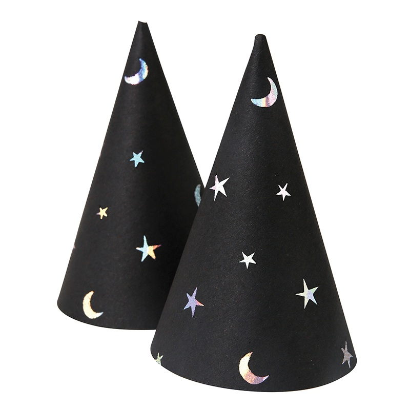 小さな魔女帽子 安心の実績 高価 買取 強化中 ゲストの子供へのプレゼントにも ハロウィン Meri ミニサイズ 魔女帽子8個入り ミニハット キッズ ハット 黒 ブラック アクセサリー フォトプロップス ハロウィーン HALLOWEEN メリメリ パーティー 月 星 モノトーン 営業 あす楽 リトルレモネード