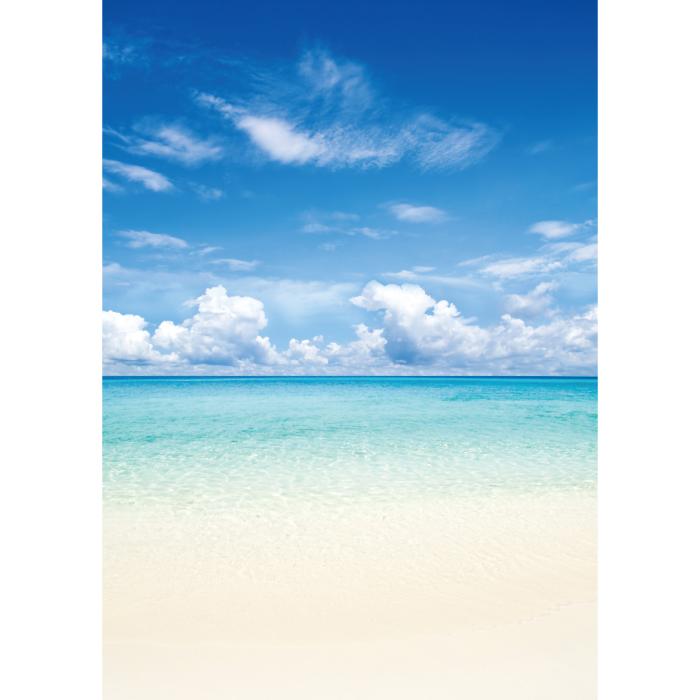 お風呂ポスター 白砂のビーチ B1(103×72.8cm) 長期固定タイプ(吸着素材)