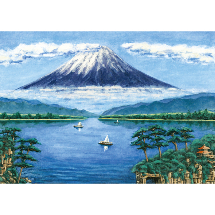 お風呂ポスター 湖畔の富士(銭湯画) B1(103×72.8cm) 長期固定タイプ(吸着素材)