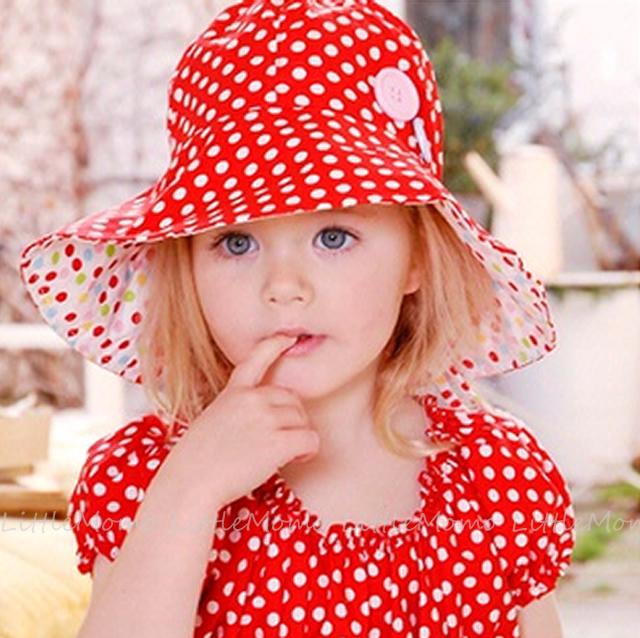 大きなつばが魅力のサンハット 帽子 日除け つば広ハット 出産祝い ご注文で当日配送 ベビー 人気ショップが最安値挑戦 70cm80cm ネコポス送料無料 Baby Hat Scarlet Oobi Sサイズ Bridgette Dots