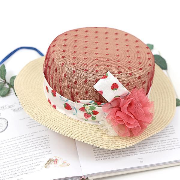お買い得品 子供服 ベビー キッズ 女の子 帽子 麦わら帽子 90cm100cm110cm120cm130cm デポー 51cm 55cm パンパンチュチュ水玉ベールのストローハット いちごポルカ 53cm panpantutu