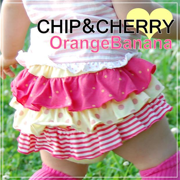 人気商品☆CHIPCHERRY フリフリブルマー 新品 Orange 高級な Banana メール便OK M S