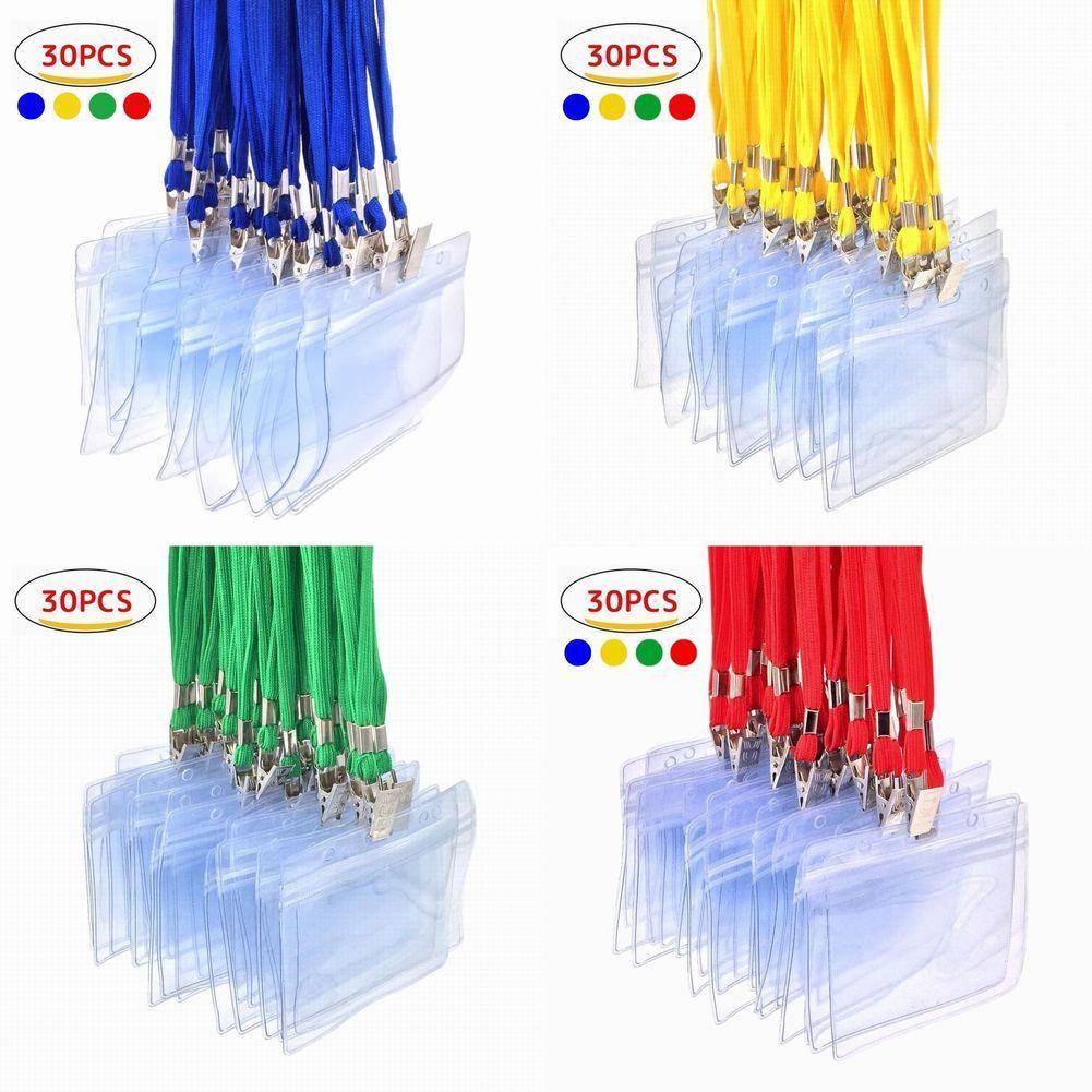 透明IDカードホルダーはパーティーや展示会 イベント 研修 会議 社員証入れなど大量に必要になることも多いため 業務用の名札入れ大量枚数のセットを用意しました カードホルダー 名札ホルダー 30枚 セット ネックストラップ 名札 吊り下げ スタッフ パス 名刺 社員証 ID ケース 展示会 横型 雑貨ショップlittle ブルー 黄色 定番の人気シリーズPOINT ポイント 入荷 赤 入れ カー用品 グリーン Monster 防水 タイプ 緑 セットアップ 社員証ケース 首かけ 青 レッド イエロー