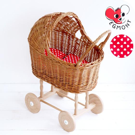乳母車 おままごと ベビーカー 猫 ベッド 寝床 おもちゃ 人形用 女の子 プレゼント ギフト 誕生日 ナチュラル かわいい クリスマス Egmont Toys エグモントトイズ柳の乳母車 赤い布団