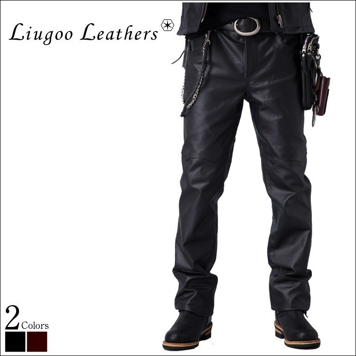 e59892b6ee Liugoo -Leather speciality store-: Leather shorts leather pants riders pants  new men's leather straight leather pants leather shorts leather Jean jacket  ...
